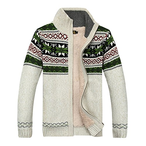 GWELL Herren Strickjacke mit Fleece Jacquard Verdickte Sweater Cardigan Strickpullover mit Reißverschluss Stehkragen Weiß