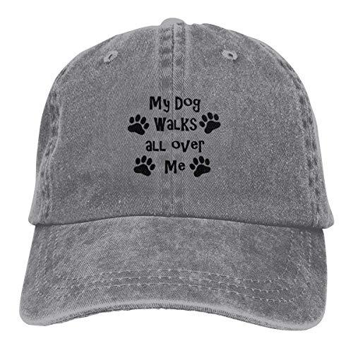 Presock My Dog Walks All Over Me Cowboy Caps Unisex Adjustable Trucker Baseball Hat ()