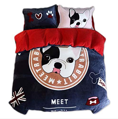 H-O Bettwäsche 4-teilig Set von, Flanell-Blatt-Set aus Baumwolle Mit Reißverschluss Super Weiche Atmungsaktive Bettlaken*1 Cover*1 Kopfkissenbezug*2 -