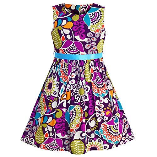 Sunboree Mädchen Kleid Blume Muster Lila Sommer Trägerkleid Gr. 128 134 (Kleid Boutique Mädchen)