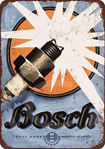PotteLove 1926 Bosch Spark Plugs Vintage Reproduktion Metallschild 8 x 12 cm (Multi-spark Plug)