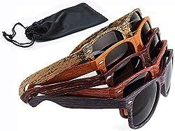 Sonnenbrille Holz Holzoptik mit Brillen Etui - UV400 - verschiede Farben und Muster für Damen und Herren verspiegelt sunglass UV-Schutz Holz Optik dunkel braun