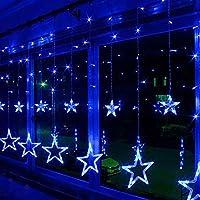 Estrella luz de la Cortina, EONHUAYU 12 Stars 138 LED Luz de la Cortina con Iluminación de 8 Modos con Pilas para la Decoración de la Navidad Dormitorio de la Fiesta de la Boda (Azul)