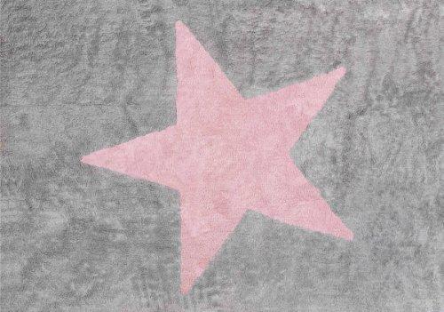Aratextil Estela Alfombra Infantil, Algodón, Gris y Rosa, 120x160 cm