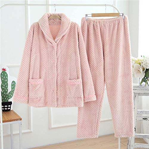 JZX Autumn and Winter Pineapple Coral Fleece Couple Pajamas, Men's Home Service Suit,A,L