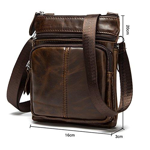 Zhhlinyuan Luxus Mens Smooth Lightweight First Cowhide Leather Slim Small Zipper Messenger Bag Shoulder Bag Black