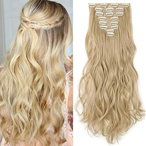 "TESS Haarteile Clip in Extensions wie Echthaar Ombre günstig Haarverlängerung 8 Tressen 18 Clips Haarteil Gewellt 17""(43cm)-140g Blond"