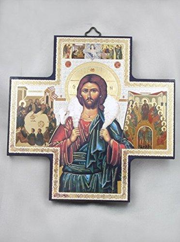 Icona del Buon Pastore su pannello di legno 15 x 15 cm - Angelo Icona