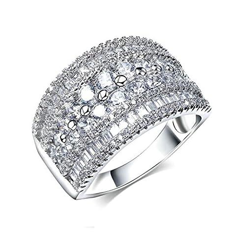 Epinki Edelstahl Damen Ringe Verlobungsringe Solitärring Ring Cubic Zirkonia Breit Band Silber Gr.57 (18.1)