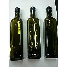 6 botellas cuadradas de vidrio oscuro UVAG para aceite o licor, 1000 ml, con