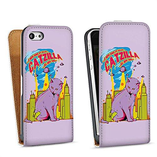 Apple iPhone 4 Housse Étui Silicone Coque Protection Catzilla Godzilla Chat Sac Downflip blanc