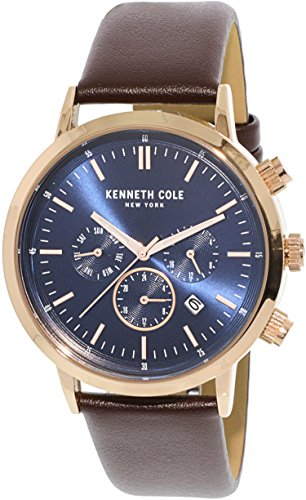 Kenneth Cole Men's KC50228002 Rose-Gold Leather Japanese Quartz Fashion Watch