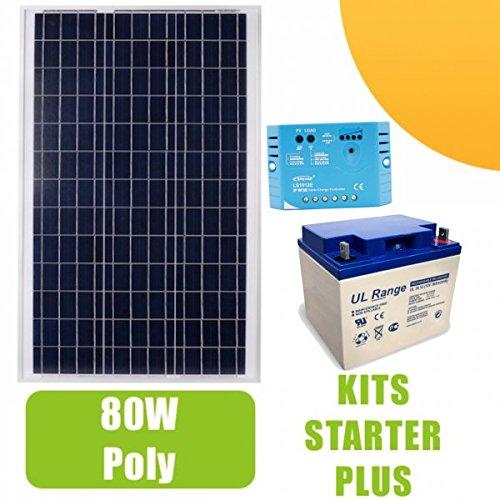 Kit solar 80W Poly con regulador y batería: Panel solar 80W polycristallin, regulador de carga 10A, par de conectores MC4, batería 38Ah y instrucciones de funcionamiento del regulador (Kit se entrega sin accesorios de montaje ni cables ni fusible...