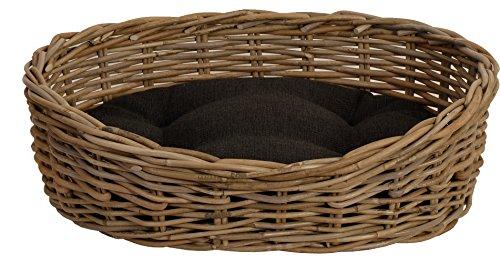Katzenkorb / Hundekorb GRAU aus Natur-Rattan mit schwarzem Kissen, Hundebett / Katzenbett oval M (52x43cm) Weihnachten Outlet