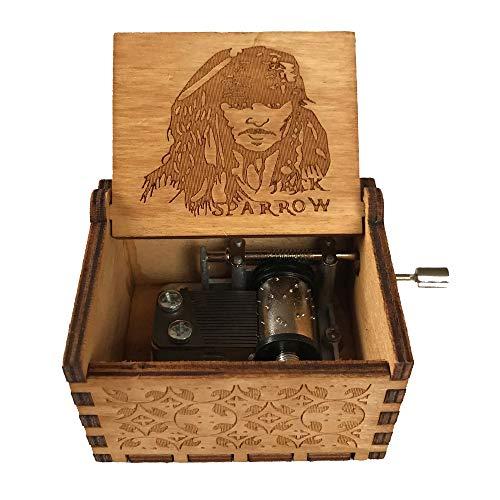 Caja de música de manivela de madera tallada antigua, caja musical exquisita del tema retro para el regalo del día de fiesta de cumpleaños size Pirates of the Caribbean