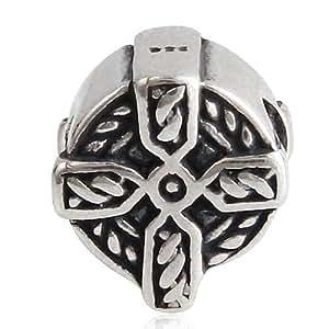 Croix Celtique-Argent 925/1000–Perle-Fits Pandora Charm Bracelet