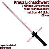 Kreuz Lichtschwert Kreuzschwert 3 Klingen Lichtschwert feste Klinge Sound Lichteffekt rot