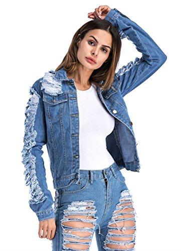 HUAN 2018 Neue Frauen Mädchen Lose Fit Langarm Vintage Denim Light Wash Verblasst Riss Jean Jacke (Farbe : Blau, Größe : 5XL)