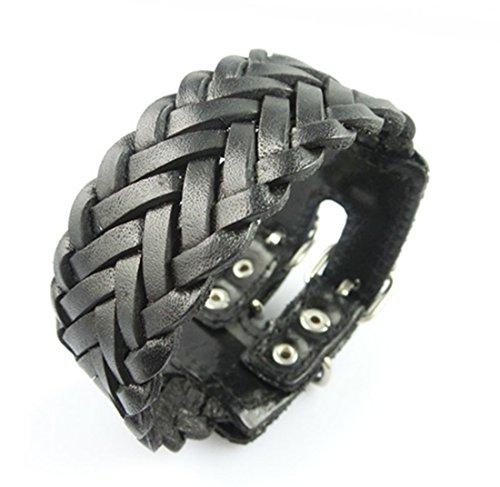 Original Tribe Moda Punk regolabile in pelle Wristband Cuff Bracelet - Grande per Uomini, Donne, adolescenti, maschi, femmine Sl2461 (nero)