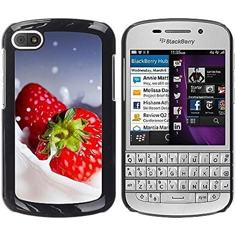 TORNADOCOVER Unico Immagine Rigida Custodia Case Cover Protezione Per SMARTPHONE BlackBerry Q10 - macro frutta cremoso fragole - Cremoso Fragola