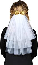 Ocamo White Bride Veil Shoulder Length Bowknot with Comb for Bachelorette Party Wedding