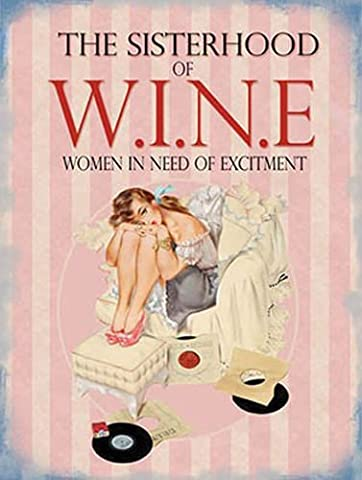 Sisterhood of wine. Women need of excitement. Single lady on sofa arm chair, bored with vinyl records. For house, home, bedroom. Birthday gift. Fridge