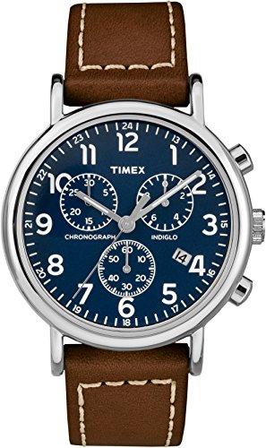 f559eb9601b7 Timex Herren Chronograph Quarz Uhr mit Leder Armband TW2R42600