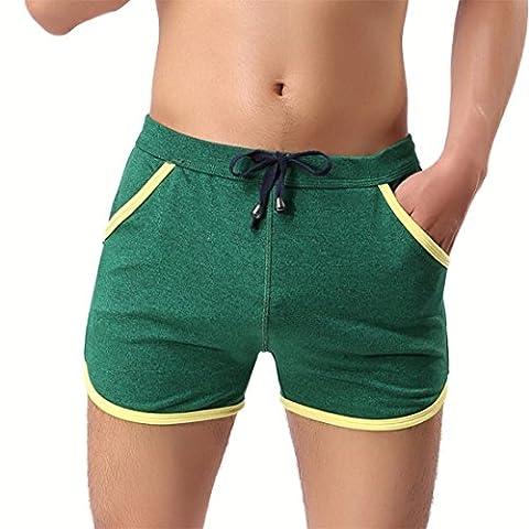 Atdoshop Männer Baumwoll-Casual Hosen Fitness Hose Strandhose Schwimmhose Heiße Quellen Shorts (L, Grün)
