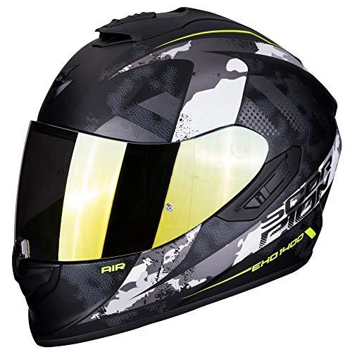 Scorpion - Casco integrale EXO-1400 sylex nero opaco argento in fibra di vetro per scooter moto con visiera interna SpeedView solare retrattile, protezione calotta esterna TCT (M)