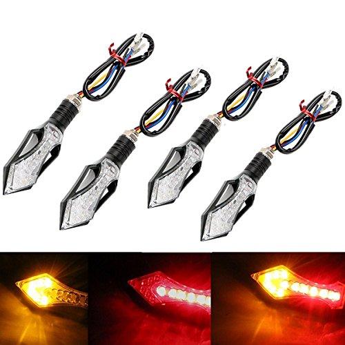 FEZZ Motorrad LED Blinker Bremse Tagfahrlicht 3 in 1 Bremslicht Blinkleuchte Blitzlicht Bernstein + Rot 12LED 12V Universal(4 Stück)