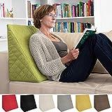 Sabeatex® Rückenkissen, Keilkissen für Couch und Sofa, Lesekissen für bequemes Sitzen. 5 Unifarben für trendiges Wohndesign.