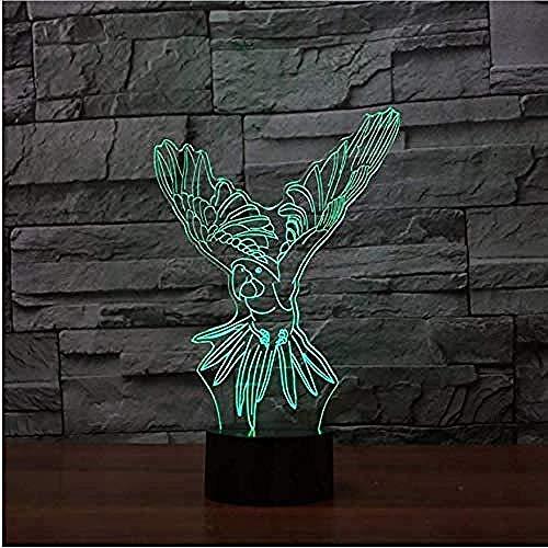 3D Farbwechsel Visuelle Usb Fliegen Papagei Tischlampe Touch Button Ave Nachtlicht Led Baby Schlaf Leuchte Kinder Weihnachtsgeschenke -