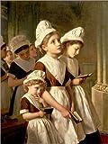 Posterlounge ALU Dibond 100 x 130 cm: Foundling Girls at Prayer in The Chapel, c.1877 de Sophie Anderson/Bridgeman Images