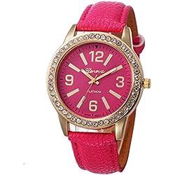 WINWINTOM Women Stainless Steel Analog Leather Quartz Wrist Watch Hot Pink