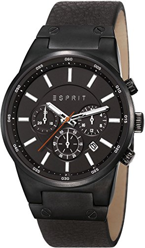 Esprit Equalizer Outdoor Men's Quartz Watch with Black Dial Chronograph Display and Black Leather Strap ES107961001