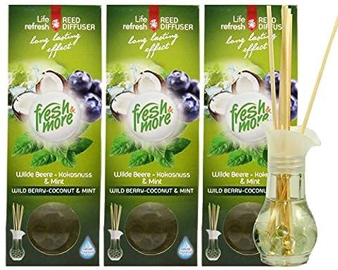3x Fresh & More Parfum Vase [Baie Sauvage–Noix de coco & menthe] Parfum avec Tiges Naturelles Parfum–35ml