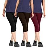#6: Rooliums Woman Super Fine Cotton Capri Combo Pack Of 3 (Black, Dark Brown and Maroon) - Free Size