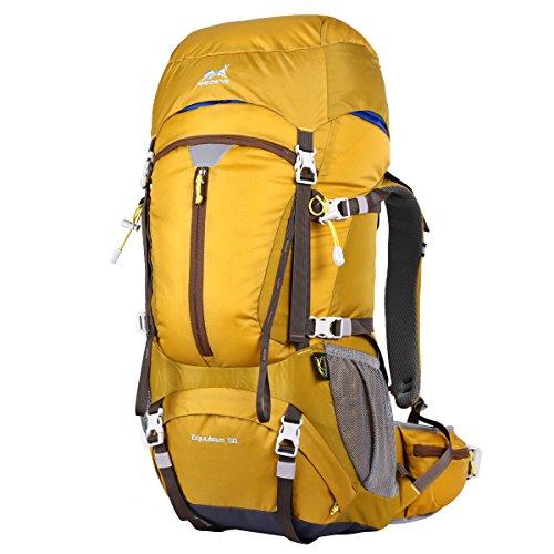 Eshow Zaino Unisex 50 Litri Impermeabile Leggero Copertina antipioggia Trekking Outdoor Sport Alpinismo Escursionismo Campeggio Viaggio Giallo
