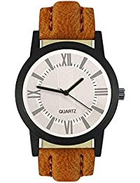 Style Keepers Attractive Stylish Sport Look White Dial Stylish Brown Leather Strap Analog Watch For Men & Boys