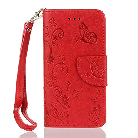 Huawei P9 Premium Leather Red Wallet Flip Case Cover Pouch,Cozy Hut Huawei P9 Leather Case + Invisible Strong Magnetic Buckle Style With Hand Wrist Strap,Butterflies and flowers Pattern Design Flip PU Leather Wallet Card Slot Stand Case Cover For Huawei P9 5.2 inch -
