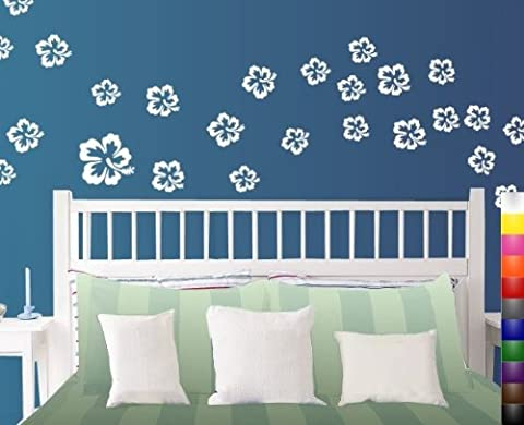 Blanc Tropical Hibiscus Fleur Stickers Muraux 25-Pack différentes tailles
