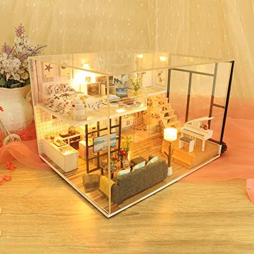 Miniatur Haus Möbel Led Haus Puzzle Dekorieren Kreative Geschenke, Geschenk Kunst Cottage Holz Handwerk Spielzeug Gebäude Modell Geschenk Geburtstag Liebhaber Glück Passwort ()