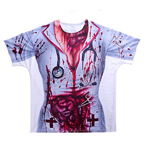 Arzt Dämon Kostüm - WJHFF Erwachsene Scary Bloody Printed 3D Kostüm Krankenschwester Arzt Kleidung Top Cosplay Halloween T-Shirt für Frauen