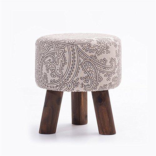 JUNDENGZI Solide Holzbank Gepolstert Fußhocker Ottomane 3 Beine Kreisförmige und Abnehmbare Leinenabdeckung (Graues Muster) 30,5 * 30,5 * 33,5 cm