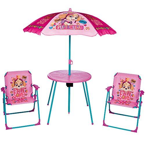 URBN Toys Ensemble de Pique-Nique pour Enfant avec Parasol, Table et 2 chaises Paw Patrol Pink
