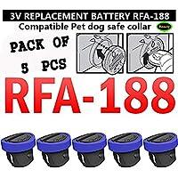 3V RFA-188 Batería Pet Dog Safe Collar Reemplazo Compatible Disponible botón Coin Cell - Alto rendimiento y larga vida útil para Wateproof Bark Training Hogar y bicicleta Rear Light Electronic (Paquete de 5)