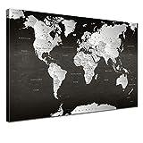"""LanaKK - Weltkarte Leinwandbild mit Korkrückwand Zum pinnen der Reiseziele – """"Weltkarte SW"""" - Deutsch - Kunstdruck-Pinnwand Globus in Schwarz, Einteilig & fertig gerahmt in 150x100cm"""