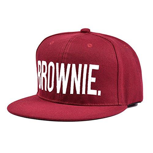 elegantstunning Baseballmütze/Baseballkappe, modisch, Hip-Hop-Stil, mit Stickerei, Bestickt, Wine Red Brownie, Einstellbar