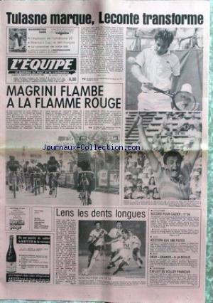 EQUIPE (L') [No 11557] du 09/07/1983 - TULASNE MARQUE - LECONTRE TRANSFORME - MAGRINI - LA FLAMME ROUGE - LENS LES DENTS LONGUES - ATHLETISME - CAZIER - AUTO - GOLF- UNIVERSIADE - VOLLEY FRANCAIS. par Collectif