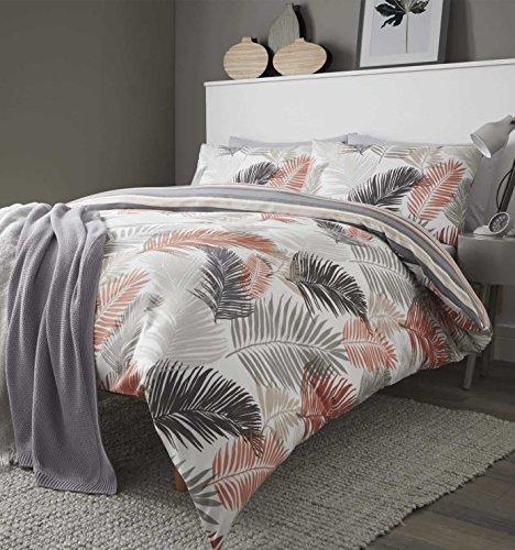 (Fusion® Tropical Bettbezügen, modernes Palm Design, geometrische Leaf Print, pflegeleichten Baumwoll-Mischgewebe Betten, 48 % Baumwolle / 52 % Polyester, kupfer, Einzelbett)